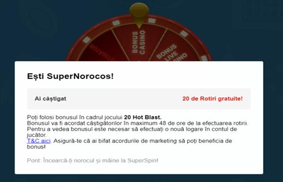 20 rotiri gratuite bonus casino superbet superspin